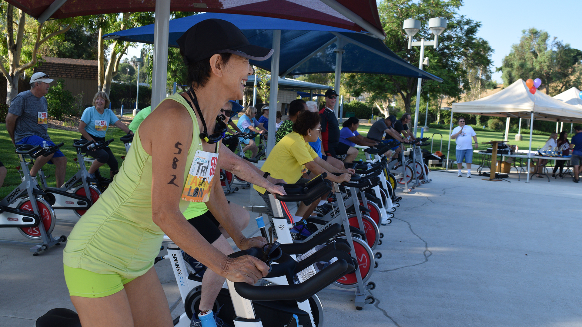 Cycling at annual Senior Triathlon