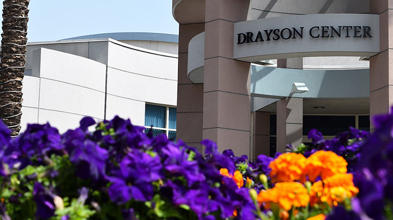 flowers in front of Drayson Center